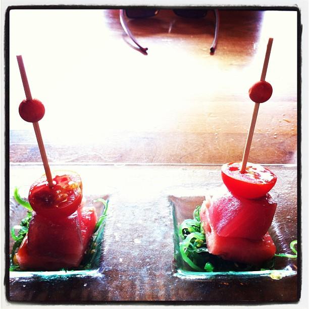 Tomato Watermelon Tuna skewers..second order!