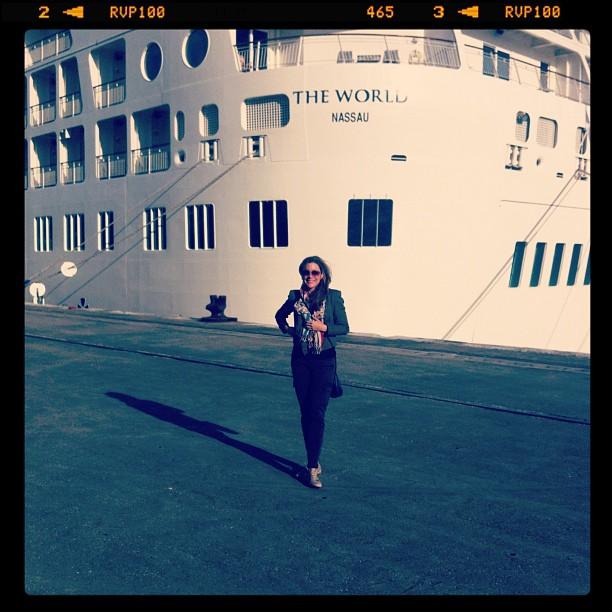 The World docked in Lisbon